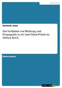 Cover Das Verhältnis von Werbung und Propaganda in der Anti-Tabak-Politik im Dritten Reich