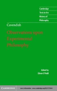 Cover Margaret Cavendish: Observations upon Experimental Philosophy