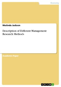 Cover Description of Different Management Research Methods