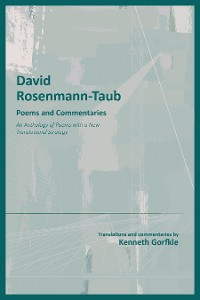 Cover David Rosenmann-Taub: Poems and Commentaries