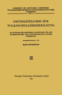 Cover Grundsatzliches zur Volksschullehrerbildung