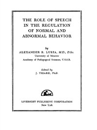 Cover Role of Speech in the Regulation of Normal and Abnormal Behavior