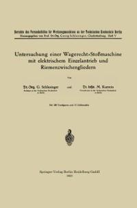 Cover Untersuchung einer Wagerecht-Stomaschine mit elektrischem Einzelantrieb und Riemenzwischengliedern