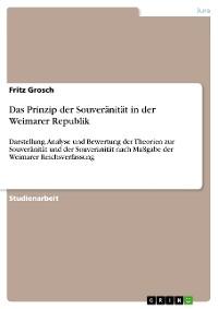 Cover Das Prinzip der Souveränität in der Weimarer Republik
