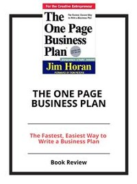 Cover The One Page Business Plan