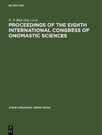 Cover Proceedings of the Eighth International Congress of Onomastic Sciences
