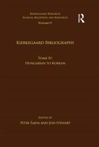 Cover Volume 19, Tome IV: Kierkegaard Bibliography