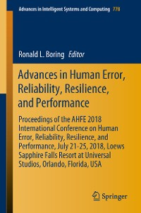 Cover Advances in Human Error, Reliability, Resilience, and Performance