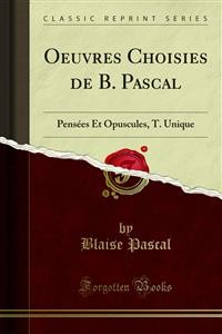 Cover Oeuvres Choisies de B. Pascal