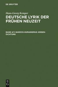 Cover Barock-Humanismus: Krisen-Dichtung