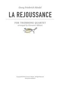 Cover Georg Friederich Händel La Rejoussance for Trombone Quartet