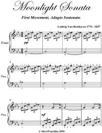 Cover Moonlight Sonata 1st Mvt - Easy Elementary Piano Sheet Music
