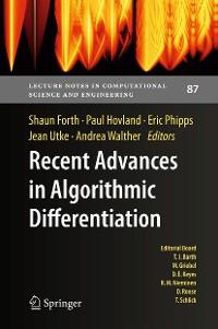 Cover Recent Advances in Algorithmic Differentiation