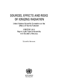 Cover Sources, Effects and Risks of Ionizing Radiation, United Nations Scientific Committee on the Effects of Atomic Radiation (UNSCEAR) 2012 Report