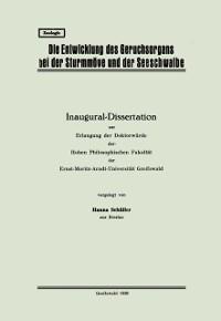 Cover Die Entwicklung des Geruchsorgans bei der Sturmmove und der Seeschwalbe