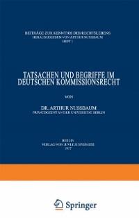 Cover Tatsachen und Begriffe im Deutschen Kommissionsrecht