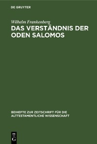 Cover Das Verständnis der Oden Salomos