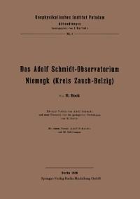 Cover Das Adolf Schmidt-Observatorium Niemegk (Kreis Zauch-Belzig)