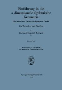 Cover Einfuhrung in die n-dimensionale algebraische Geometrie