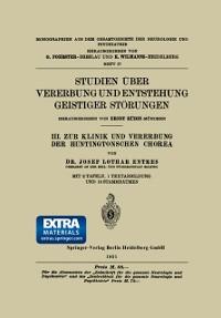 Cover Studien Uber Vererbung und Entstehung Geistiger Storungen