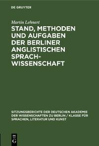 Cover Stand, Methoden und Aufgaben der Berliner Anglistischen Sprachwissenschaft