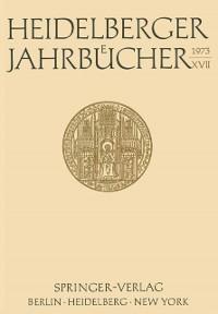 Cover Heidelberger Jahrbucher XVII