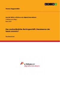Cover Das wucherähnliche Rechtsgeschäft. Renaissance der laesio enormis?