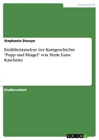 """Cover Erzähltextanalyse der Kurzgeschichte """"Popp und Mingel"""" von Marie Luise Kaschnitz"""