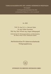 Cover Merkmalanalyse fur datenverarbeitende Fertigungsplanung