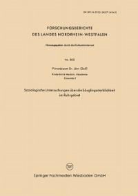 Cover Soziologische Untersuchungen uber die Sauglingssterblichkeit im Ruhrgebiet