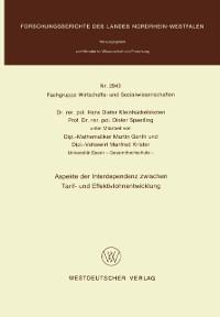 Cover Aspekte der Interdependenz zwischen Tarif- und Effektivlohnentwicklung