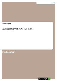 Cover Auslegung von Art. 121a BV