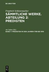 Cover Predigten in den Jahren 1789 bis 1810