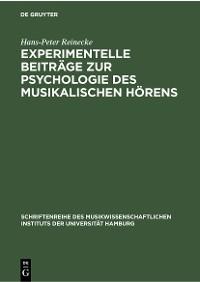 Cover Experimentelle Beiträge zur Psychologie des musikalischen Hörens