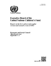 Cover Executive Board of the United Nations Children's Fund