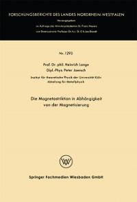 Cover Die Magnetostriktion in Abhangigkeit von der Magnetisierung