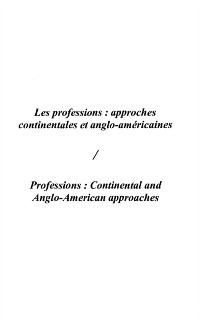 Cover Professions : approches euro-continentales et anglo-americaines