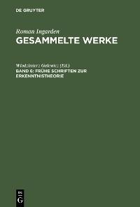 Cover Frühe Schriften zur Erkenntnistheorie