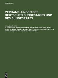 Cover Sachregister und Konkordanzliste zu den Verhandlungen des Deutschen Bundestages 8. Wahlperiode (1976–1980) und den Verhandlungen des Bundesrats (1977–1980)