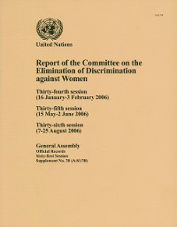 Cover Report of the Committee on the Elimination of Discrimination against Women