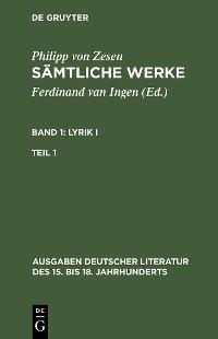Cover Lyrik I. Erster Teil