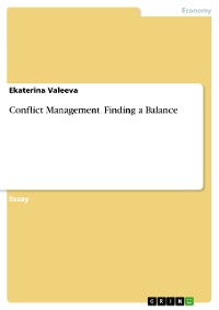 Cover Conflict Management. Finding a Balance