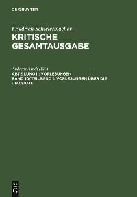 Cover Vorlesungen über die Dialektik