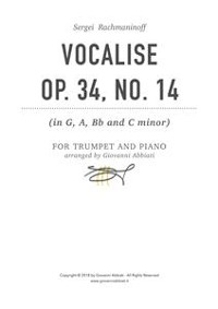 Cover Sergei Rachmaninoff Vocalise, Op. 34, No. 14 for trumpet and piano