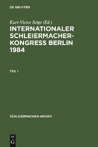 Cover Internationaler Schleiermacher-Kongreß Berlin 1984