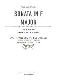 Cover Arcangelo Corelli Sonata in F Major Op. 5 No. 10 for Trombone or Euphonium and Piano or Organ (from Violin Sonata)