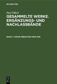 Cover Frühe Predigten 1909–1918