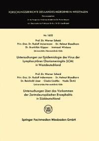 Cover Untersuchungen zur Epidemiologie des Virus der Lymphocytaren Choriomeningitis (LCM) in Westdeutschland