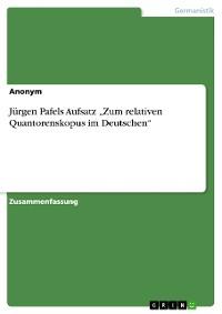 """Cover Jürgen Pafels Aufsatz """"Zum relativen Quantorenskopus im Deutschen"""""""