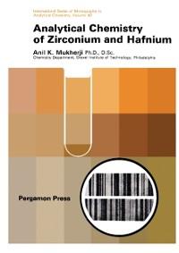 Cover Analytical Chemistry of Zirconium and Hafnium